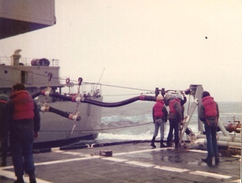 The Barry during an at sea refueling operation. The oiler is about 50-75' to the left. March 1979