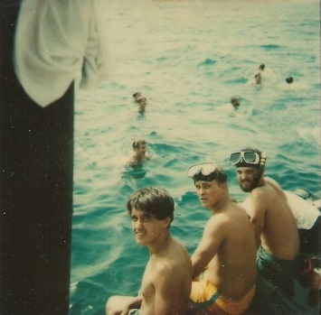 Swimming off the side of the Barry in the Persian Gulf. Benteng (middle). Antagonist Duane (far right) July 2, 1979