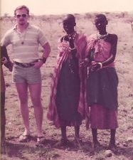 Benteng with people from the Maasai tribe in the Kenya Amboseli National Park. December 24, 1981