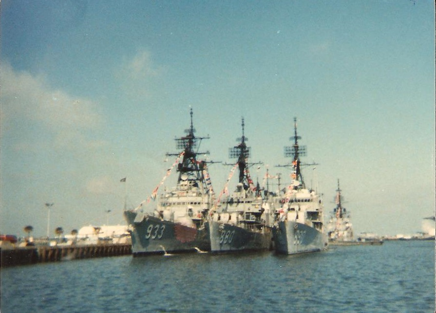 From left to right, USS Barry (DD-933), USS Dyess (DD-880), USS Orleck (DD-886). At the pier in Mayport, FL. February 1979