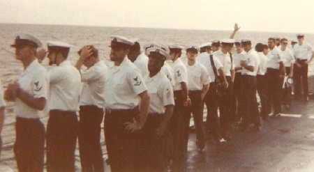 Mike, fourth from left. USS Barry arriving in Rota Spain. June 10, 1979