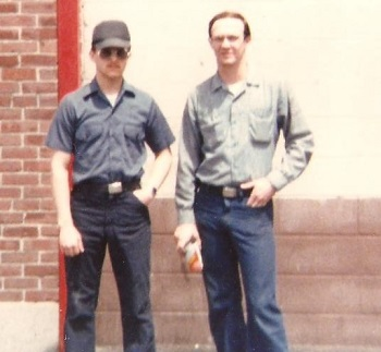 Benteng (on left) & Karl, outside the barracks in East Boston, Massachusetts shipyard. Karl was a new believer who, had had a very serious drinking problem. July 1980