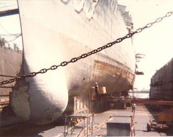 The USS Barry in the Dry Dock at  Boston, MA Shipyard. August 1980