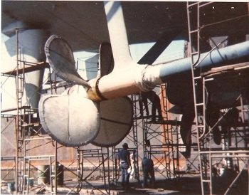 Propellers on the USS Barry. In Boston, MA Shipyard dry dock. August 1980