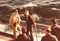 J.T.--center: One of the young men that read their Bible below my bed. April 1981 off the coast  of Norfolk, VA